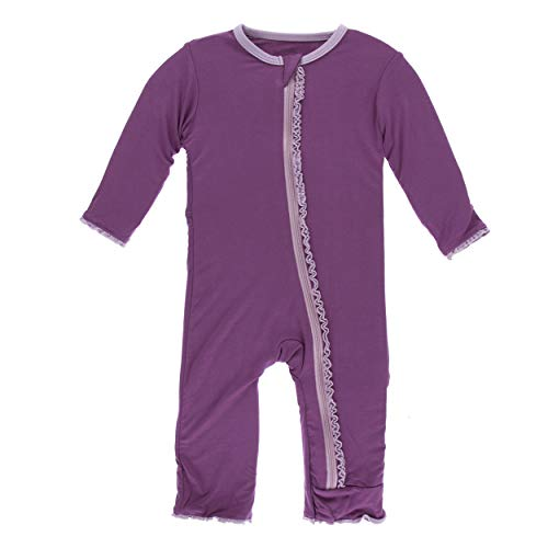Coverall Girl Solid - Kickee Pants Little Girls Solid Muffin Ruffle Coverall with Zipper - Amethyst with Sweet Pea, 18-24 Months