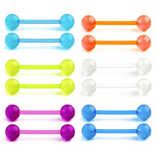 - MODRSA 14G Grow in The Dark Acrylic Tongue Rings Flexible Nipple Piercing Retainer 16mm Bar for Nipplerings Piercing Women