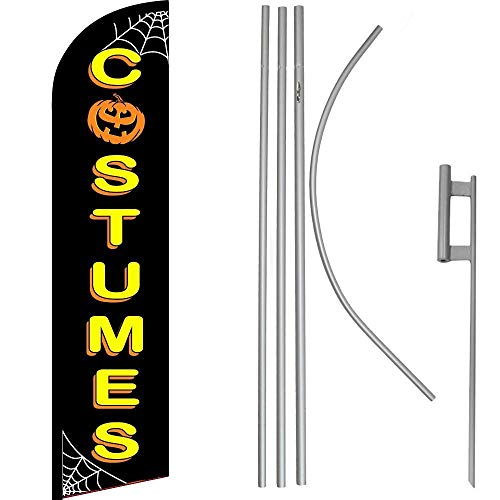 ALBATROS Halloween Costumes Black/Yellow Windless Banner Flag with 16in Flagpole Kit/Ground for Home and Parades, Official Party, All Weather Indoors Outdoors -