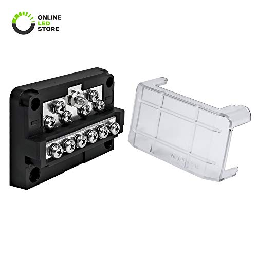 ONLINE LED STORE 12-Way Modular Ground Terminal Block [Expand with Up to 12 Fuses] [Protective Cover] [Copper Bus Bar] Distribution Block for Jeep Truck Boat Automotive