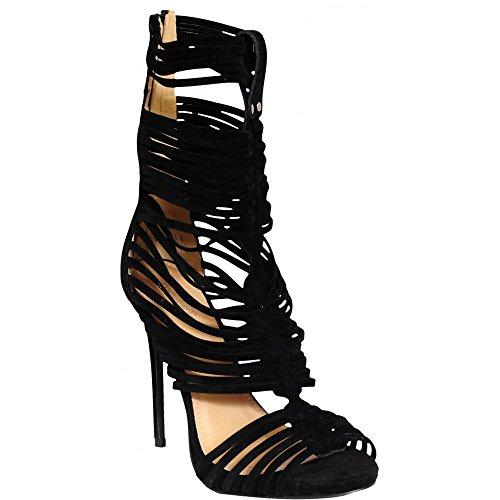 Ladies Finto Camoscio Nero Con Cinturini Alla Caviglia Peep Toe Tacchi A Spillo UK6/EURO39/AUS7/USA8