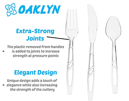 (300 Count) Heavy Duty Clear Plastic Cutlery Set - 100 Forks 100 Spoons 100 Knives - Bulk Disposable or Reusable Heavyweight Fancy Utensils by Oaklyn (Image #1)'
