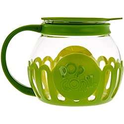 Ecolution Micro-Pop Microwave Popcorn Popper 3QT - Temperature Safe Glass w/Multi Purpose Lid (Large, Green)
