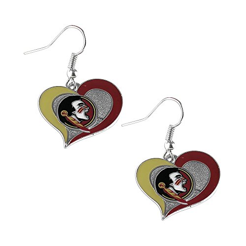 NCAA Florida State Seminoles Sports Collegiate Team Logo Swirl Heart Shape Dangle Earring - Heart Head Seminole