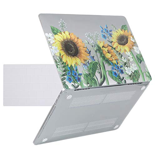 HDE MacBook Pro 13 Inch Case (2019 2018 2017 2016 Release) Rubberized Plastic Hard Shell Cover Keyboard Skin for Model A2159 A1989 A1706 A1708 Newest MacBook Pro 13 with w/o Touch Bar - Sunflowers (Case Computer Hde)