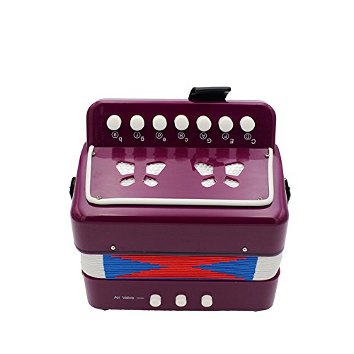 Elloapic Children's Kids' Accordion Keyboard Instruments with 7 Treble Keys, 3 Air Valves, Hand Strap, Early Learning Eduction Instrument Music Toy Purple