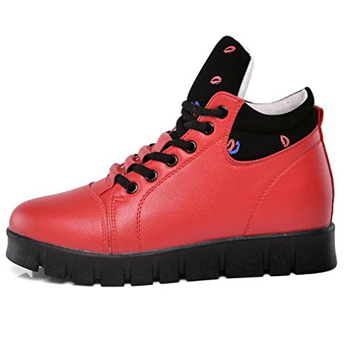 Hoxekle Womens High Top Platform Sneakers Fashion Hidden Heel Casual Sports Increased height Wedge Shoes Red MO9Eoy8d