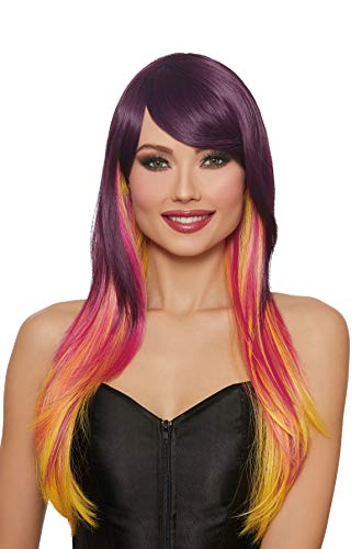 Dreamgirl Women's Long Straight Layered Sunset Wig, Multi, One Size -