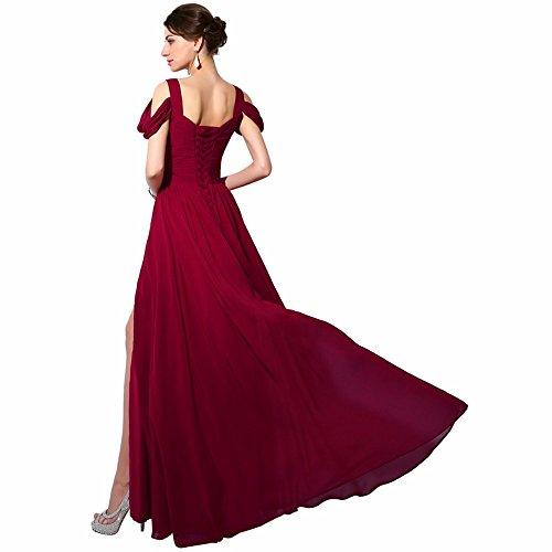 Damen Linie Abendkleid Ballkleider 36 Burgundy V Ausschnitt Elegantes für Langes A Schwarz ärmellos Chiffon T7xpCwgq