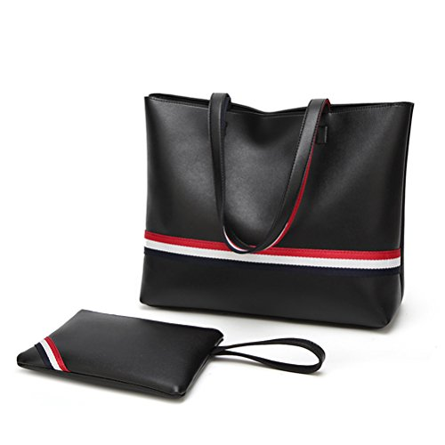 Tote Pieces Bag Shoulder Pu Size color Set Leather One Oudan 2 Women Size Contrast Brown Black Fashion Travel Bag zYBqpw