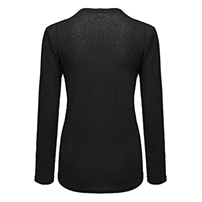 IEason Womens Blouse Casual V Neck Long Sleeve Knot Waffle Knit Tunic Shirts Tops at  Women's Clothing store