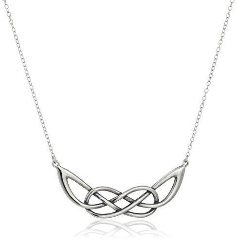 Sterling Silver Knot Clasp (Sterling Silver Oxidized Celtic Infinity Knot Necklace, 18
