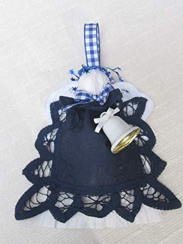 Blue Battenburg Lace Doily Angel Tree Ornament, Angel Lover Gift