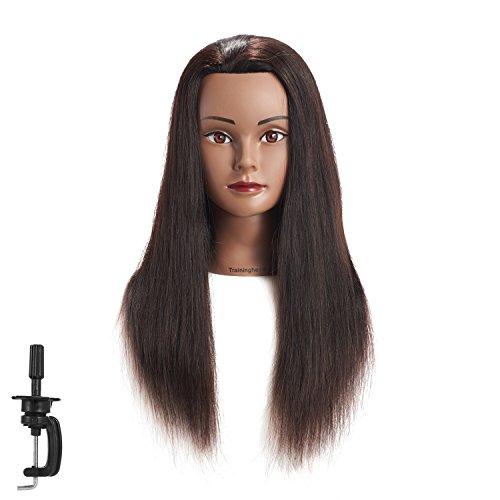 20-22 100% Human hair Mannequin head Training Head Cosmetology Manikin Head Doll Head with free Clamp (black)