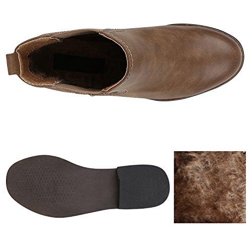 Stiefelparadies Damen Stiefeletten Chelsea Boots mit Blockabsatz Holzoptikabsatz Flandell Khaki Avelar