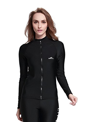 Lemorecn Rashguard Long-Sleeve Full Zip-Up Rush Guard for Women