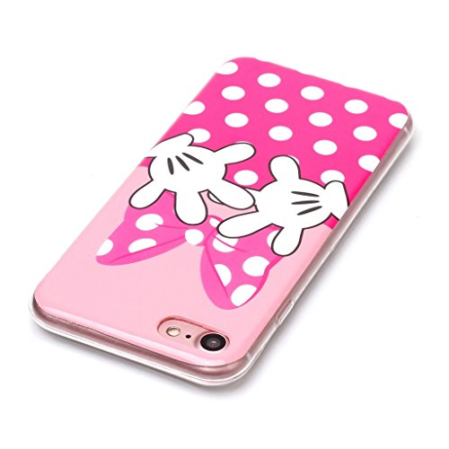 """Coque iPhone 7, IJIA Ultra-mince Rose (Pink) Mini Bow TPU Doux Silicone Bumper Case Cover Coque Housse Etui pour Apple iPhone 7 (4.7"""") + 24K Or Autocollant"""