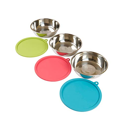 Messy Mutts 6pc Stainless Steel Bowl and Silicone Lid Box Set, 3 x Large Bowls (3 Cups) 3 x Lids (Green, Blue, Watermelon)