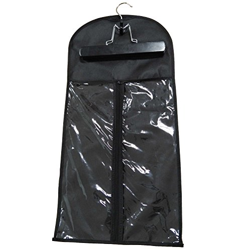 Xingoukeji Dustproof Wig Storage Bag Hair Extension Holder Hair Hanger with Zipper, Black