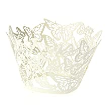 50Pcs White Butterfly Cupcake Wrappers Laser Cut Wraps Cases for Wedding Party