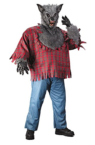 Silver Werewolf Adult Costumes (Adult Silver Werewolf Plus Size Costume with Mask and Gloves up to 300)