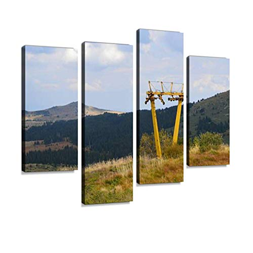 Abandoned Old ski Tow Canvas Wall Art Hanging Paintings Modern Artwork Abstract Picture Prints Home Decoration Gift Unique Designed Framed 4 Panel