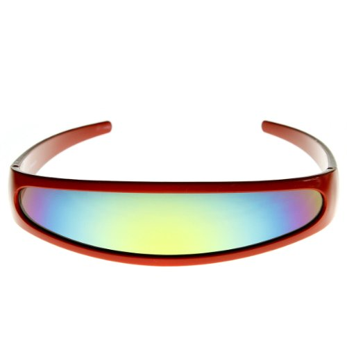 Lens Color Contact Costumes (zeroUV - Futuristic Narrow Cyclops Color Mirrored Lens Visor Sunglasses (Red)