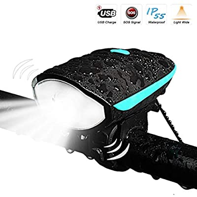 Bike Light with Loud Bike Horn, LETOUR Rechargeable Bicycle Light Waterproof Cycling Lights, bicycle Light Front with Loud Sound Siren, 3 Lighting Modes 5 Sounds