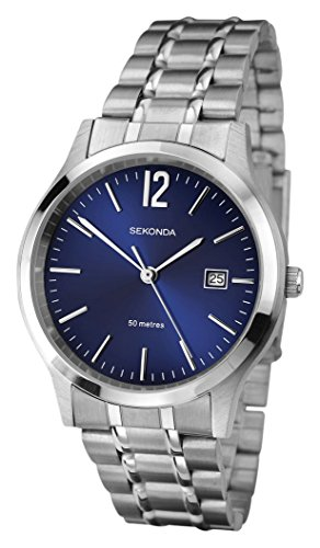 Sekonda Men's Quartz Watch with Blue Dial Analogue Display and Silver Stainless Steel Bracelet 3728.71
