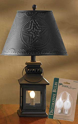 "Park Designs Iron Lantern Lamp, Night Light, Black Punched Metal Star 12"" Shade, 2 Bulbs(6w)"