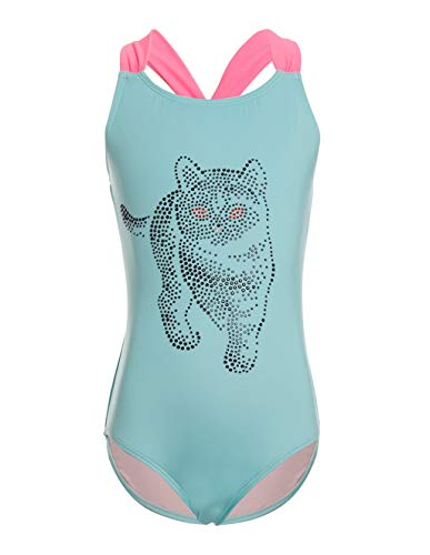 LEINASEN Adorable Cat One Piece Bathing Suits for Girls, Kids Racer Back Swimsuit by LEINASEN