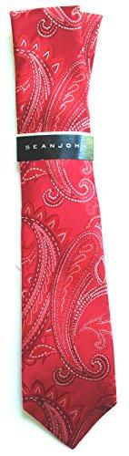 Sean John 100% Silk Mens Rich Paisley Neck Tie, Red, One Size