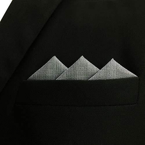 SHLAX&WING Solid Color Grey Mens Neckties Silk Ties Business Suit