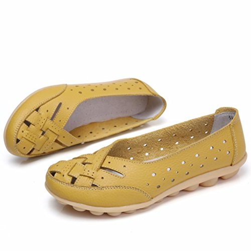 Leather Style 2017 Loafers Women's Slip Moonwalker Moccasins New On Yellow S84qxB