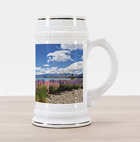 Lunarable Sky Beer Stein Mug, Floral Design Lupin Wildflowers on the Shore of Lake and Cloudy Sky Digital Print, Traditional Style Decorative Printed Ceramic Large Beer Mug Stein, Sky Blue Purple