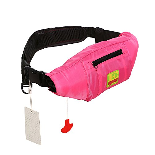 (Lifesaving Pro Premium Belt Pack PFD Universal 33G Manual Waist Inflatable Lifejacket Survival Buoyancy Adult Life Jacket Vest - Pink)