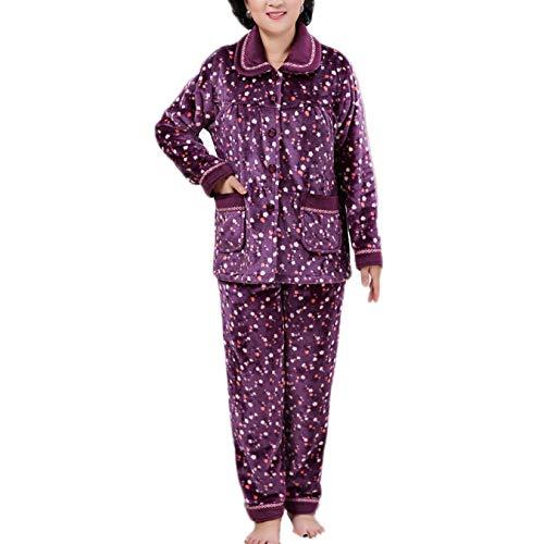 Stampa Pantaloni dots Flanella Ladies Winter Long XXL Sleeve Warm Purple Nightwear PJ Pajama E Fleece Top Comfort Set Pigiama TIT1qgS