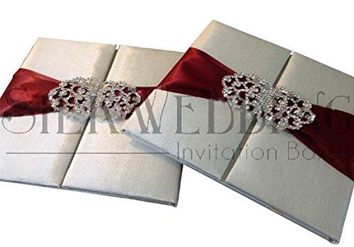 Stunning Ivory Silk Folio With Wine Red Sash and Ornate Crystal Embellishment