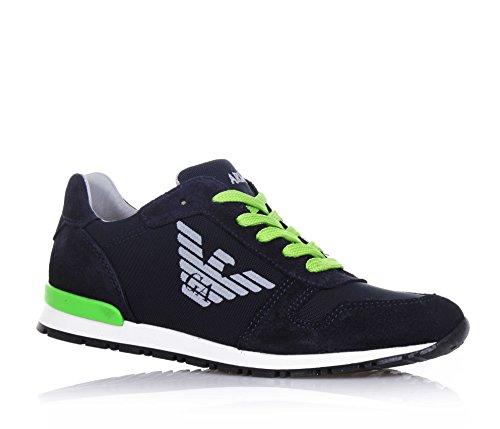 ARMANI - Zapato azul de cordones de ante y tejido impermeable, cordones verdes, logo lateral y en la lengueta, costuras decorativas, Niño, Niños
