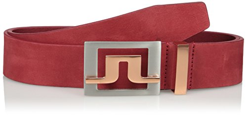 J.Lindeberg Men's Slater 40 2.0 Brushed Leather Belt, Red Intense, 85