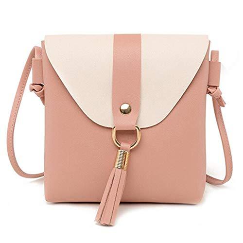 Pink Mujer Bolso de Cuero de Black de Messenger Bag Mensajero 17x4x19cm Bolso Hombro de de xqw6SzY4X