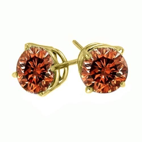 PARIKHS Round Red Diamond Stud AAA Quality in Yellow Gold (0.04ct) ()