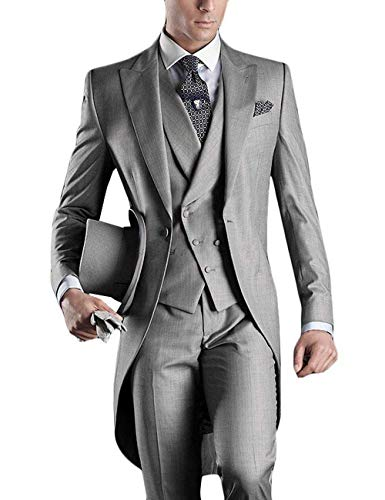 YBang Men's Classic 3 Pieces Tux Suit One Button Regular Fit Long Tail Tuxedos(Silver,40R)]()