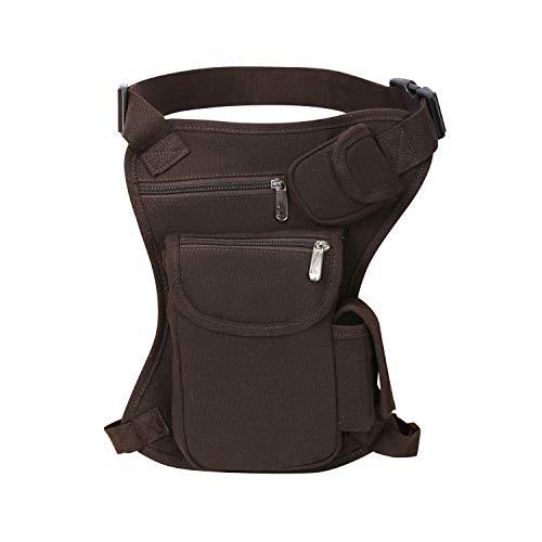 SEALINF Canvas Waist Bag Fanny Pack Racing Drop Leg Bag Motorcycle Outdoor Bag (coffee)