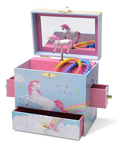 - JewelKeeper Musical Jewelry Box with 3 Drawers, Rainbow Unicorn Design, The Unicorn Tune