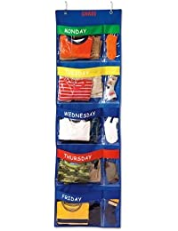 Personalized Primary Colors Days-Of-The-Week Hanging Organizer