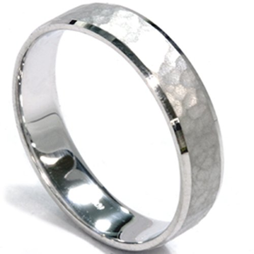 Mens 5mm White Gold Hammered Wedding Band - Size 8