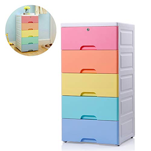 Nafenai Kids' Storage Cabinet,Exquisite Furniture Organizer, Colorful 5 Drawer Storage Cart with Lock, Great for Girls'room and Kids'Playroom,Durable and Removable (Kids Drawer)