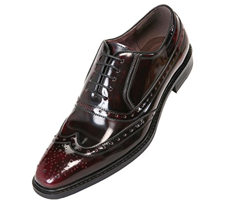 Shoes Burgundy Oxfords (Asher Green Mens Genuine Box Calf Leather Wingtip Dress Shoe, Classic Lace-Up Oxford Style)