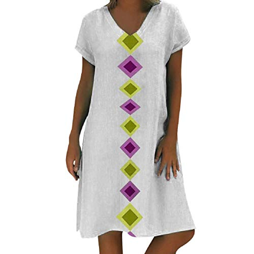 Corduroys Cotton Vintage (OTINICE Women's Summer Short Sleeve Geometric Print T-Shirt Dress Plus Size Cotton Vintage Tunic Dress White)